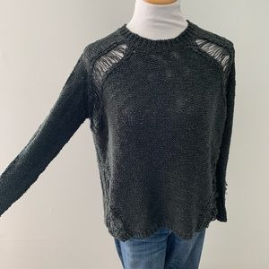 LUSH destroyed crew neck sweater